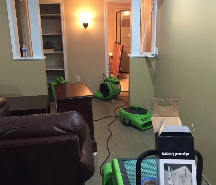 Sump pump failure causes flooded basement.