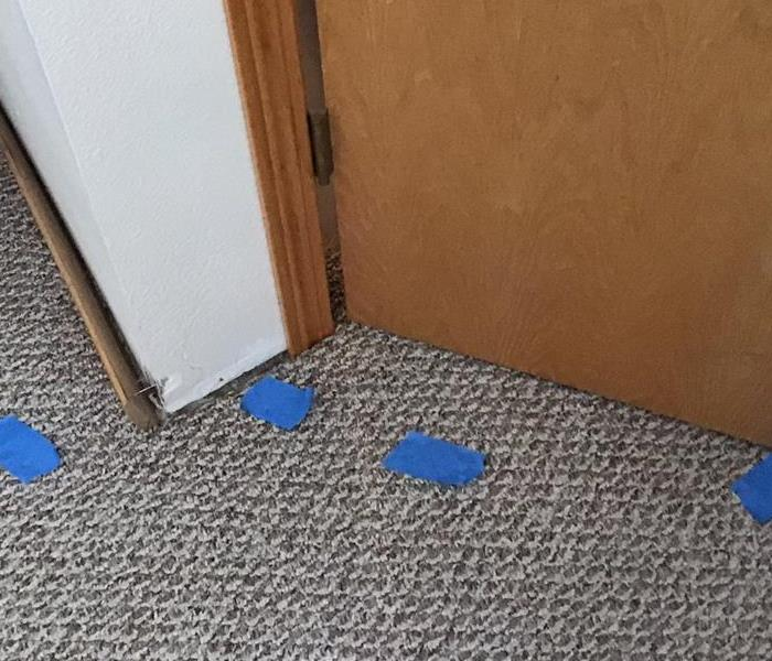 Grey carpet with blue tape.