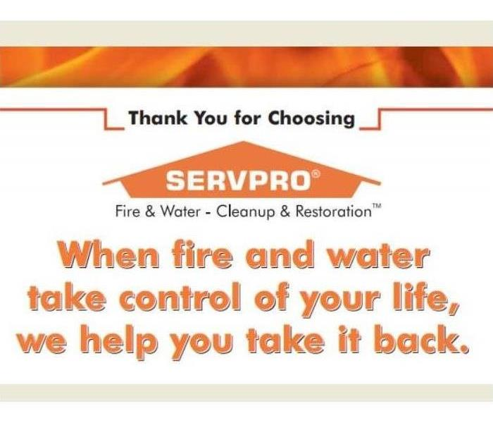 A sign that says 'When Fire & Water Take Control of Your Life, We Help You Take It Back.'