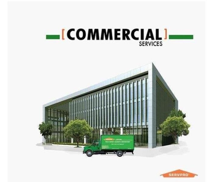 Big green SERVPRO can that says commercial services.