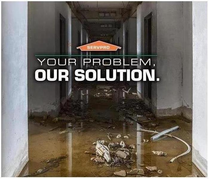 Water damage that says 'Your Problem, Our Solution'.